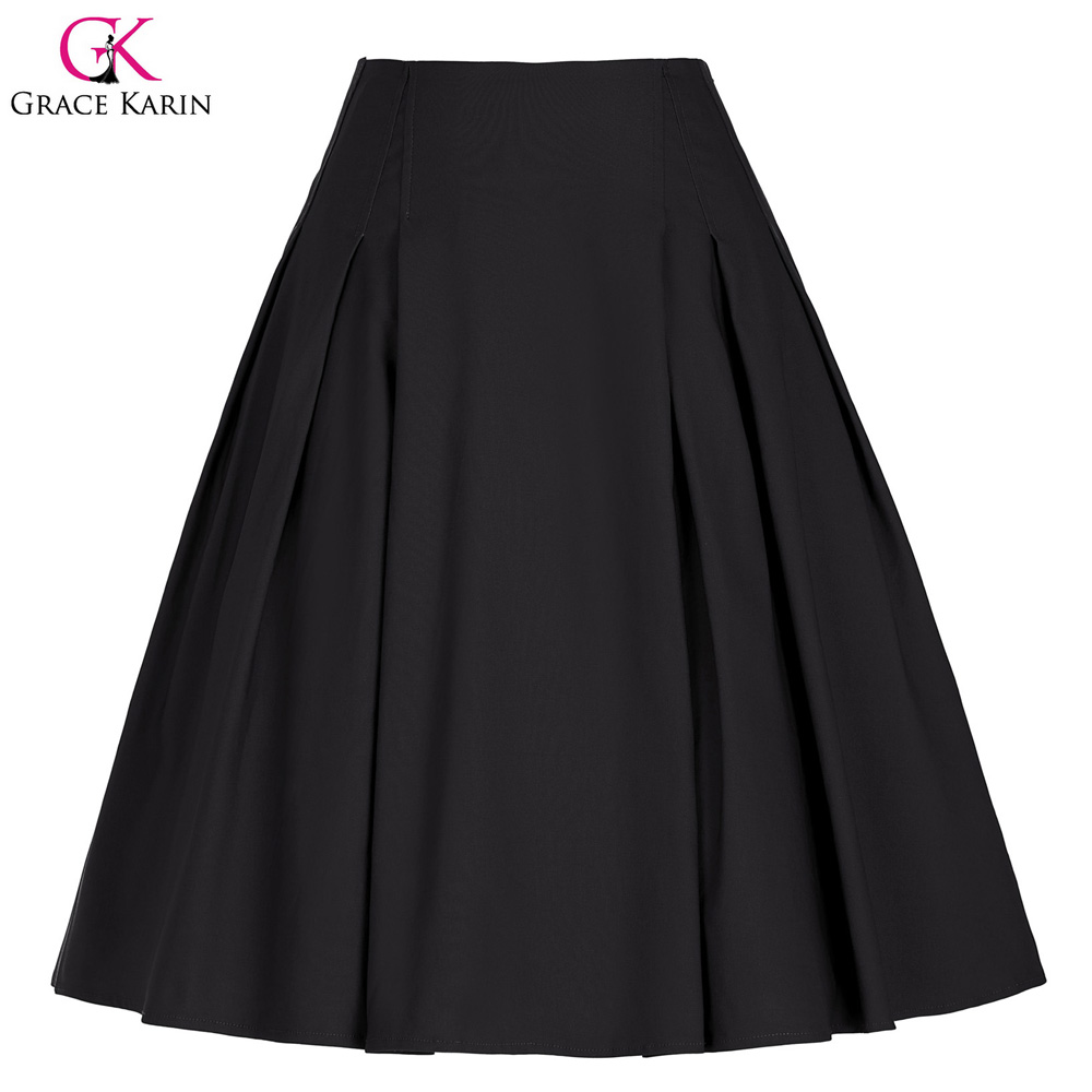 Grace Karin Women Solid Color High Stretchy Vintage Retro A-Line Short Black Skirt CL010451-1