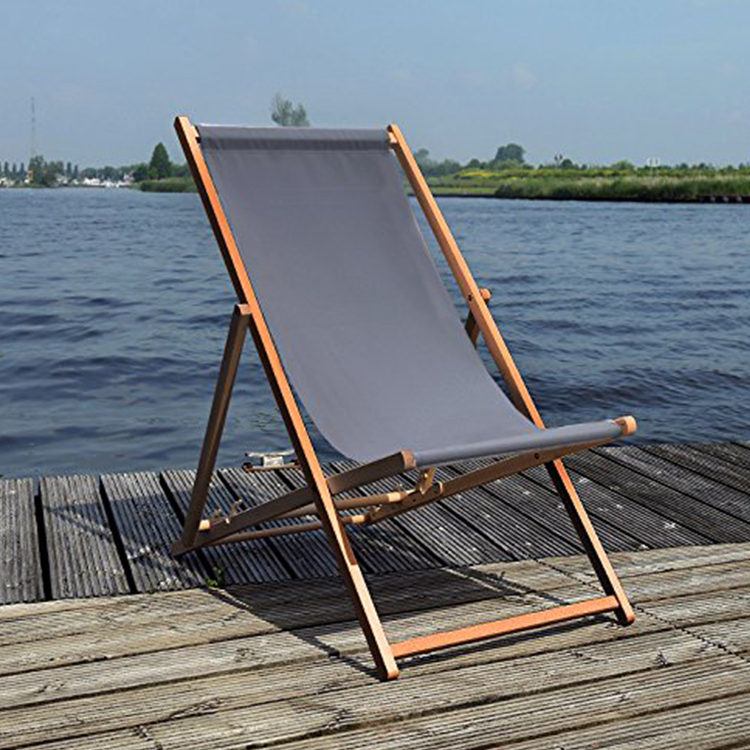 Wood frame oxford fabric sturdy easy fold portable wooden beach chair