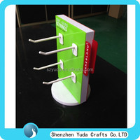 Rotating acrylic pop stand counter top hook displays perspex display with hooks