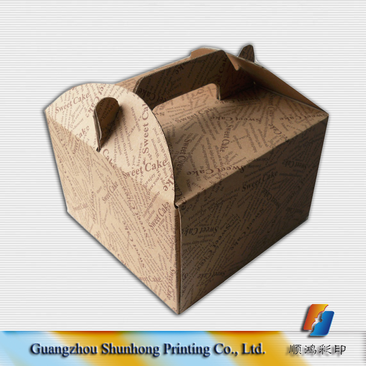 Hot sale kraft paper cake box/cheese cake packing with cake box handle