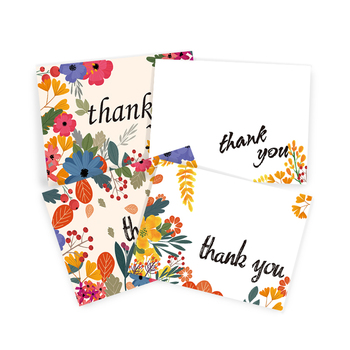 Professional Manufacturer Floral Thank You Card With Your Custom Front And Back Wording