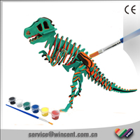 Educational DIY Drawing Dinosaur T-Rex 3D Wooden Puzzle Toy