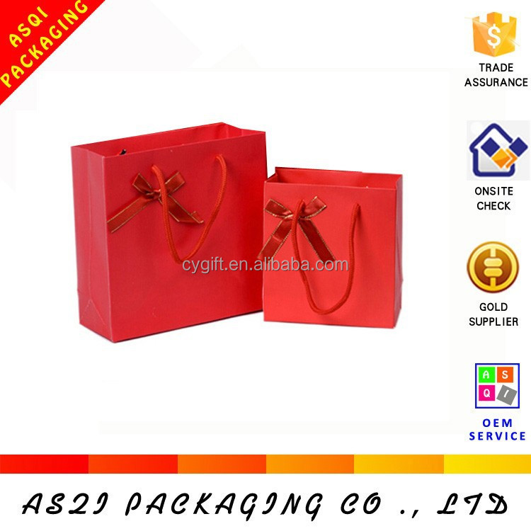 custom matte laminated full color red happy chinese new year gift bag