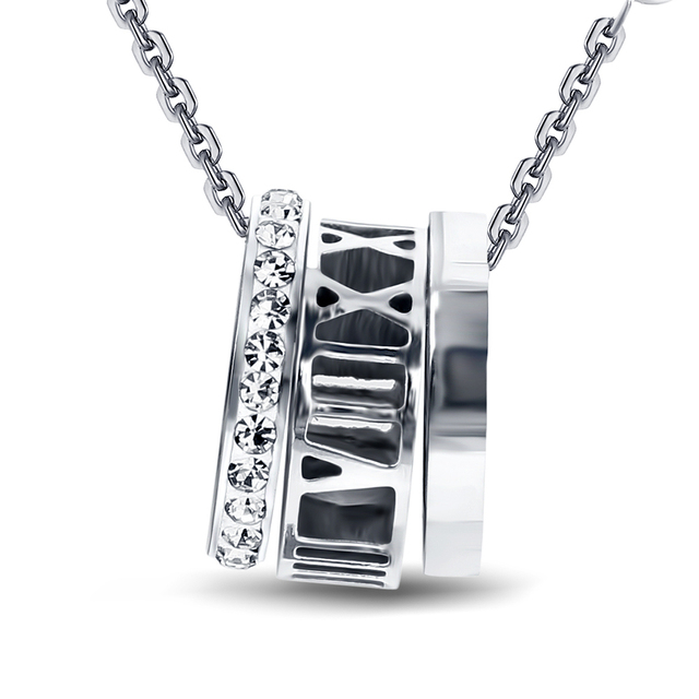Personality Design Charm Crystal Stainless Steel Roman Numerals Fashion Necklace 2017