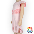 FAUX SUEDE Pattern Baby Cotton Frocks Designs Solid Pink Girl Fancy Frocks With Tassels