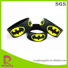 superhero batman 1 inch debossed color filled silicone wristband