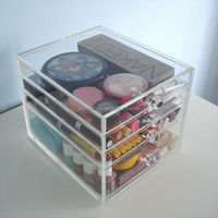 Beauty Cube Clear Acrylic Makeup Organizer Cosmetic Storage 4 Drawers