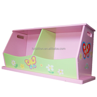 New Girls' Wooden Hand Painted Pink Flower Double Stacking Toy Storage Box Bench Kids furniture