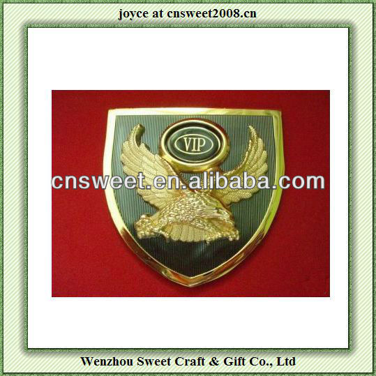 eagle shield shaped VIP metal 3D car badge emblem