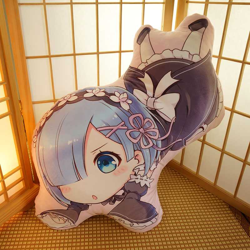 irregular shaped doll-like re: zero ram custom printed pillow cover