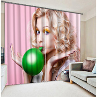 Fashion 3D digital printing curtain with window curtians designs lady sexy photo english balloon