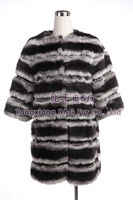 BG27583 2013 fashion Genuine Rex Rabbit Fur Clothes Similar to Chinchilla Women OEM Wholesale Retail overcoat