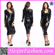 Wholesale Elegant Black Cheap Ladies Leather Catsuit