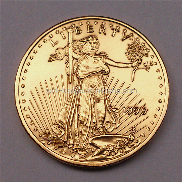 Gold fake tungsten american eagle coin &Statue of Liberty gold coin in stock