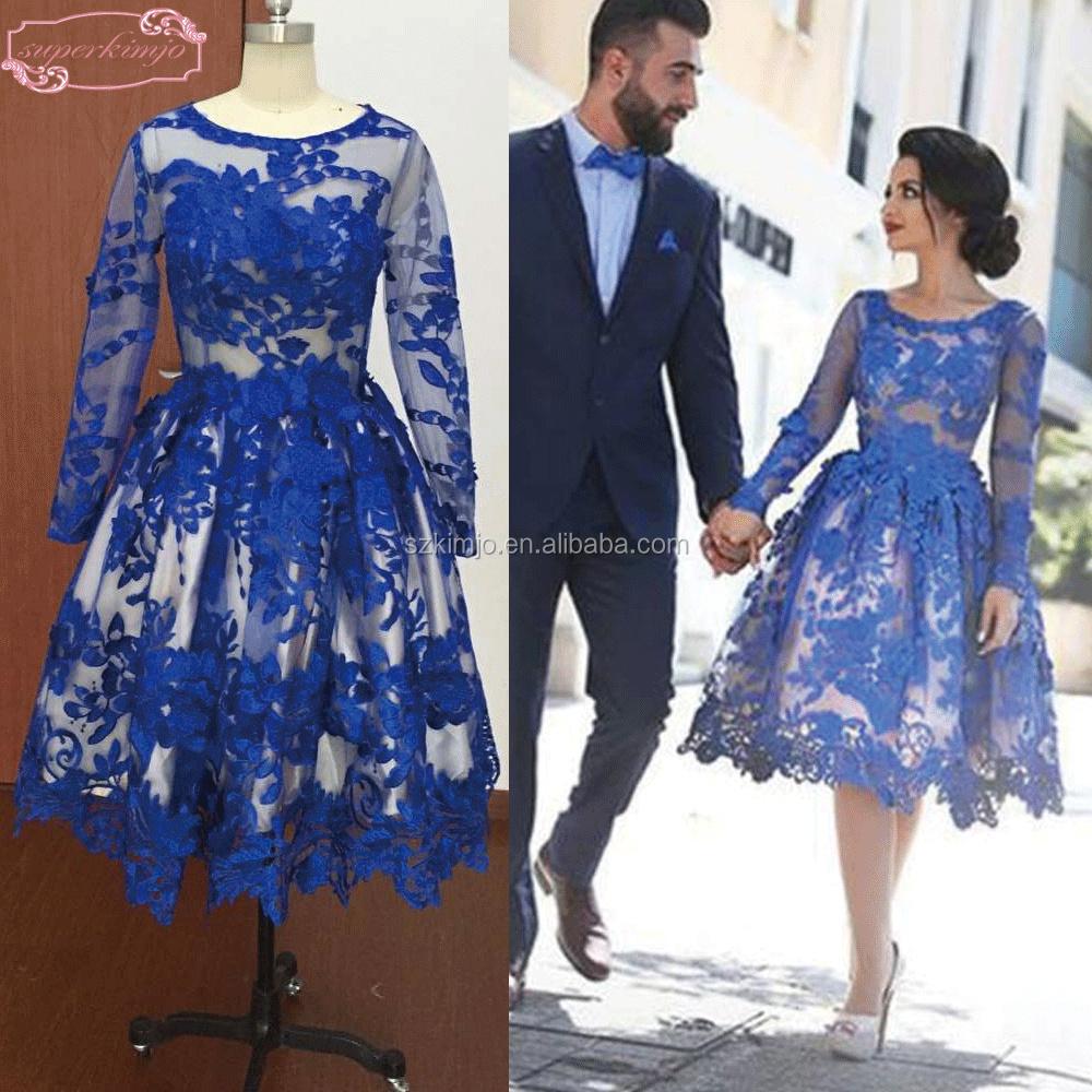 Vestido curto de formatura azul
