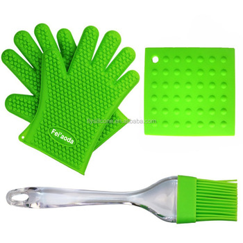 China Manufacturer Kitchen Cooking Silicone Heat reststant gloves