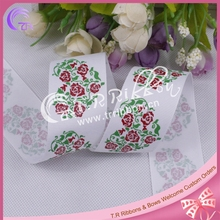"1.5"" glitter ink roses printed grosgrain ribbon, lovely print 38mm ribbon"