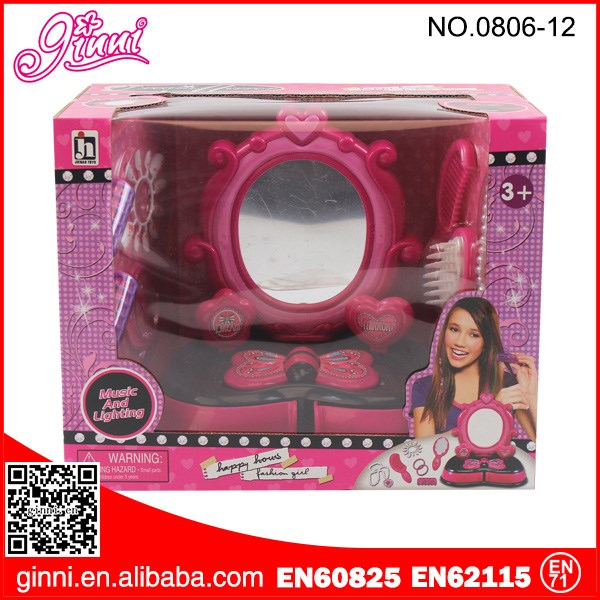 Kids plastic jewelry dressing table mirror beauty set toy for girl jewelry set