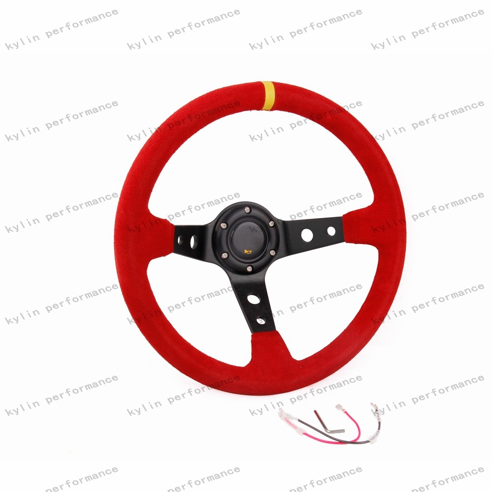 Kylin racing car 14 inch black suede leather sport car steering wheel