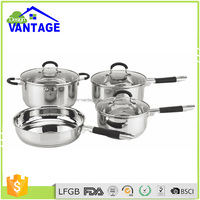 Elegant design 7pcs stainless steel pot prestige cookware set with glass lid