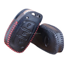 Leather remote Car Key Cover fob Case For HYUNDAI i30 Verna Veloster smart key holder