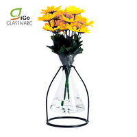 Handmade Custom Metal Stand Home Decor Clear Flower Vase Glass