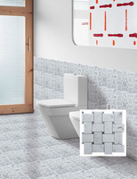 2015 Hot Saling Square Pure Black And White Bathroom Wall Deco Philippines Mosaic Tile