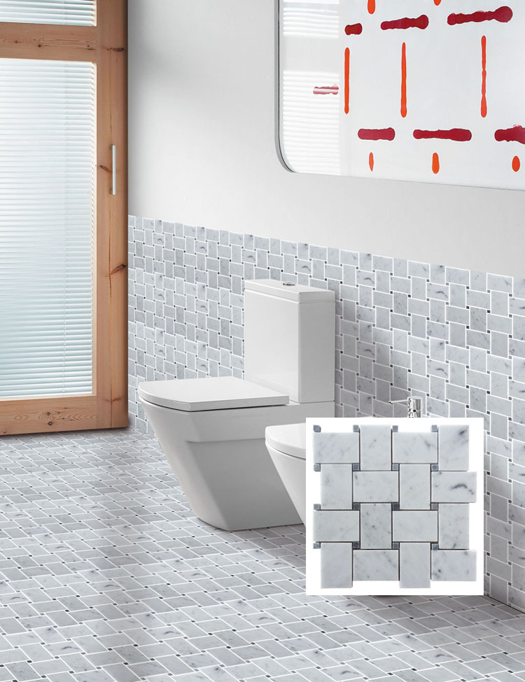 2016 Hot Saling Square Pure Black And White Bathroom Wall Deco Philippines Mosaic Tile