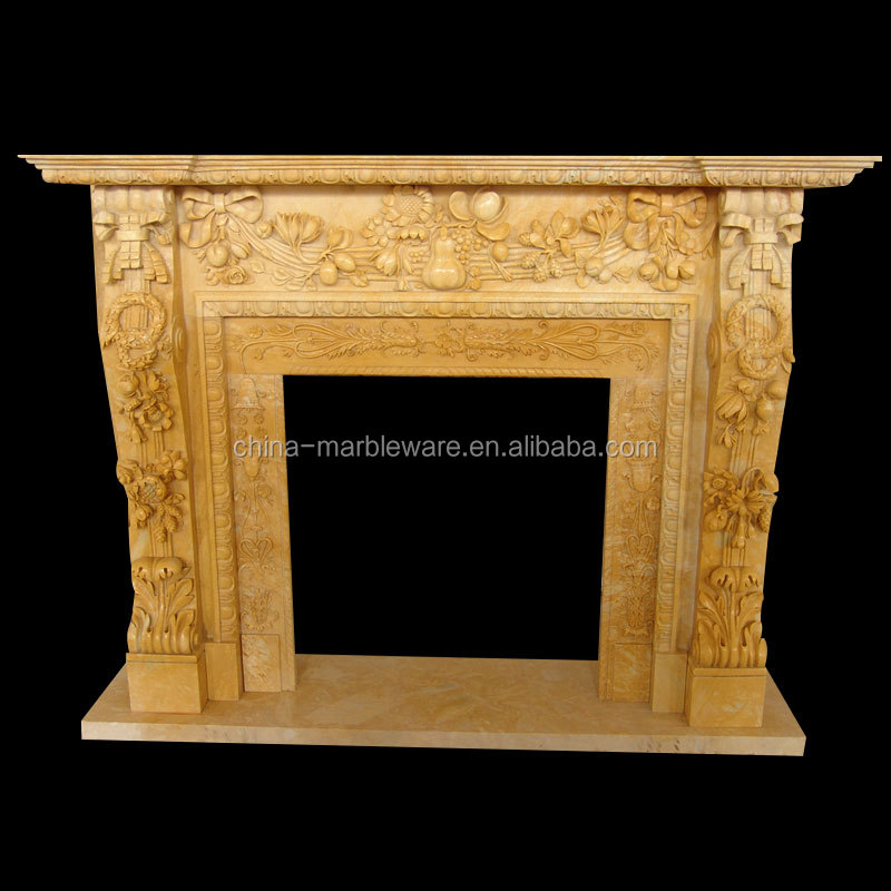 Decoration marble carving indian fireplace