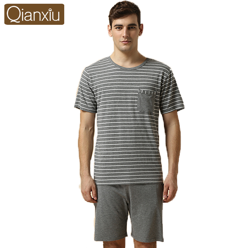 Newest in stock design Qianxiu soft knitted short-sleeve mens night wear