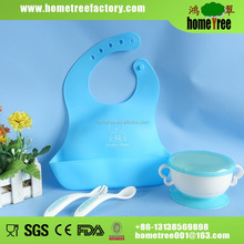 food safe plastic silicone baby feeding bowl set with fork and spoon