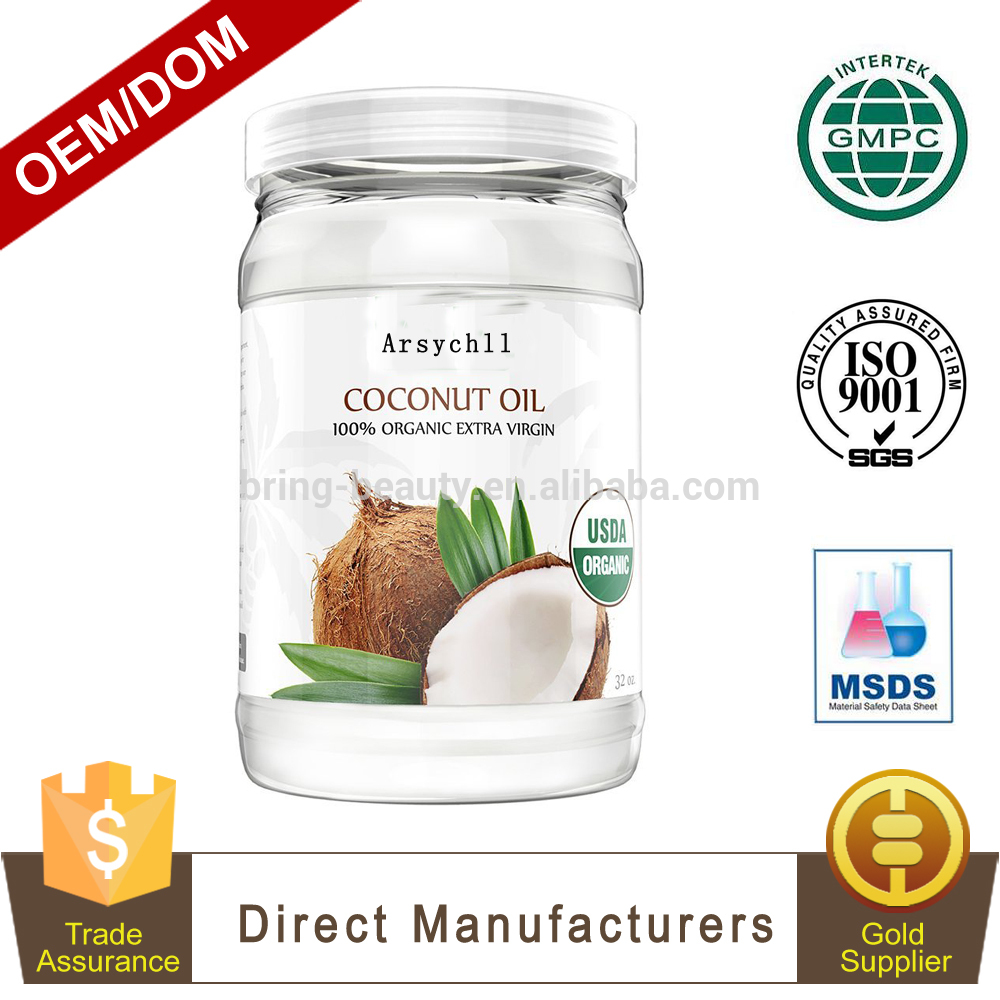 OEM/ODM Cold Pressed Coconut Oil Organic Virgin for Cooking Skin Care Hair Care Mouth Wash with Private Label