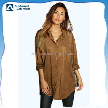 Wholesale Best Selling Girl's Stylish Top Faux Suede Fabric Blouse Shirt