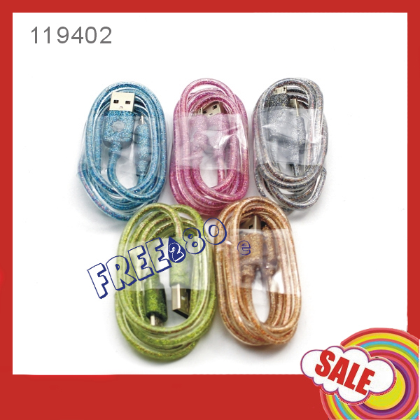 2016 Multicolor LED light 1m/3ft 7pin PVC micro usb cable for smart phone EL light wires