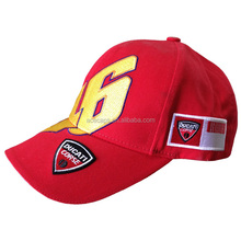 Motorcade racing embroidered red baseball caps front golden 46 embroidered baseball cap