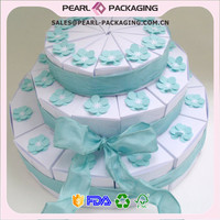 36 White or Ivory 3-tiered Wedding Favor Slice Cake Boxes with Blue Flowers and Chiffon Ribbon