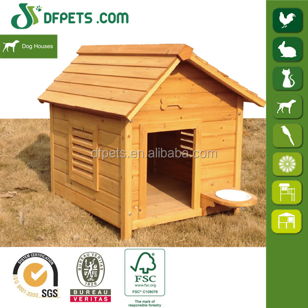 DFPets DFD3014 Outdoor Wooden Dog Kennel With Feeding Bowl