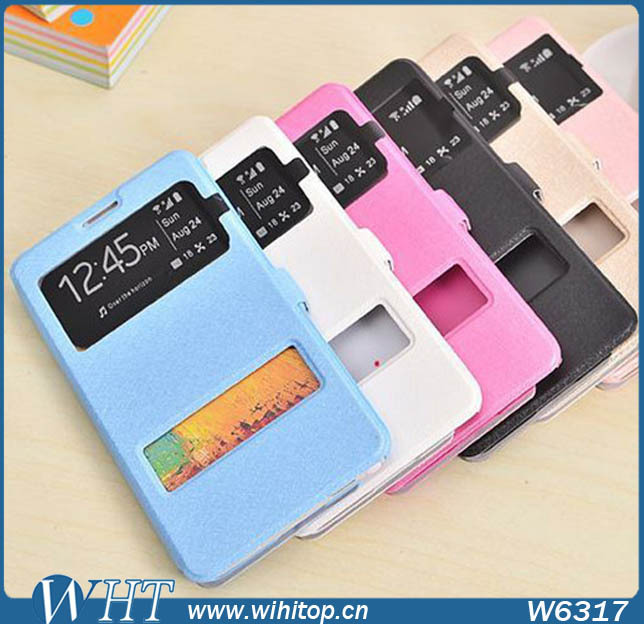Double View Window Case For Samsung Galaxy Note 3, Flip Leather Phone Case For Note 3 China Supplier