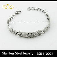 SSB110024 fashionable silver color link chain crystal butterfly stainless steel bracelet
