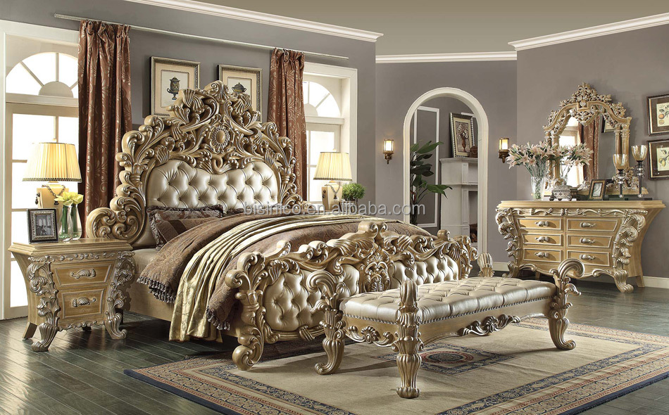 2016 NEW ARRIVAL Luxurious American/French Style Classic Solid Wood Hand Carved Bedroom Sets/Furniture(MOQ=1 SET)