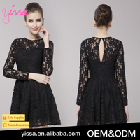 Yissa 2016 Sexy Black Lace Long-sleeved Dress Sexy Prom Dress