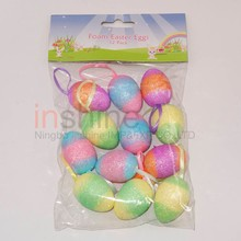 IN53217 Rainbow easter foam eggs 12 pack , decorative glitter foam easter eggs
