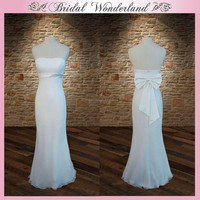 Top quality fishtail long white prom dress