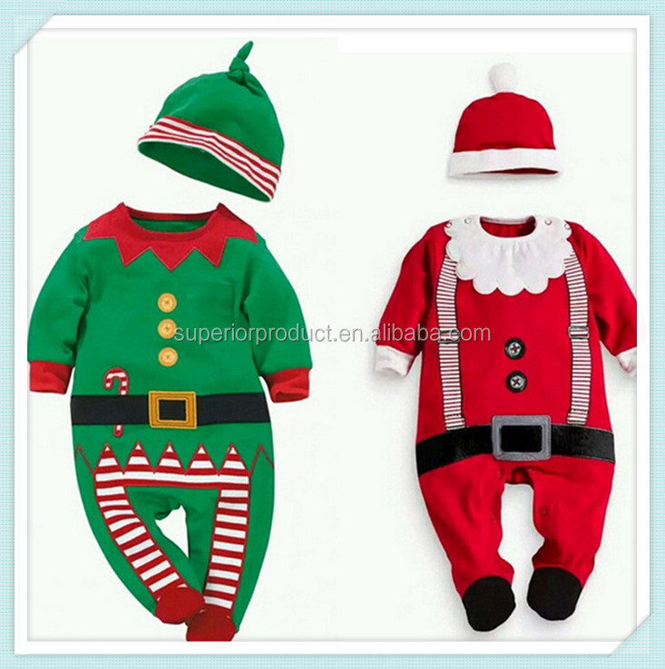 2015 baby Christmas clothing sets toddler rompers with hat Christmas rompers Christmas Holiday Gift Good Quality Cotton Bodysuit
