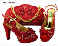 2013 new fashion beautiful army red italian shoes and bags made in China