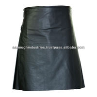 Men' / Ladies Black or White Leather / PVC Gothic Punk Scottish Style Fashion Utility Kilt for Weeding or Functions