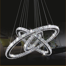 Modern remote dimmable led pendant ceiling ring luxury crystal chandelier lighting