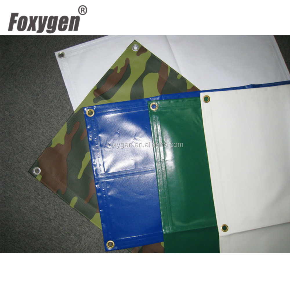 1000D Waterproof and Fireproof PVC coated polyester canvas tarpaulin with brass eyelets