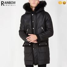 Factory Direct Wholesale Clothing Man Winter Faux Fur Trim Hood Faux Fur Coat