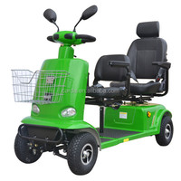 4 wheel electric power golf car/foldable electric mobility scooter with two seats for disabled/adults